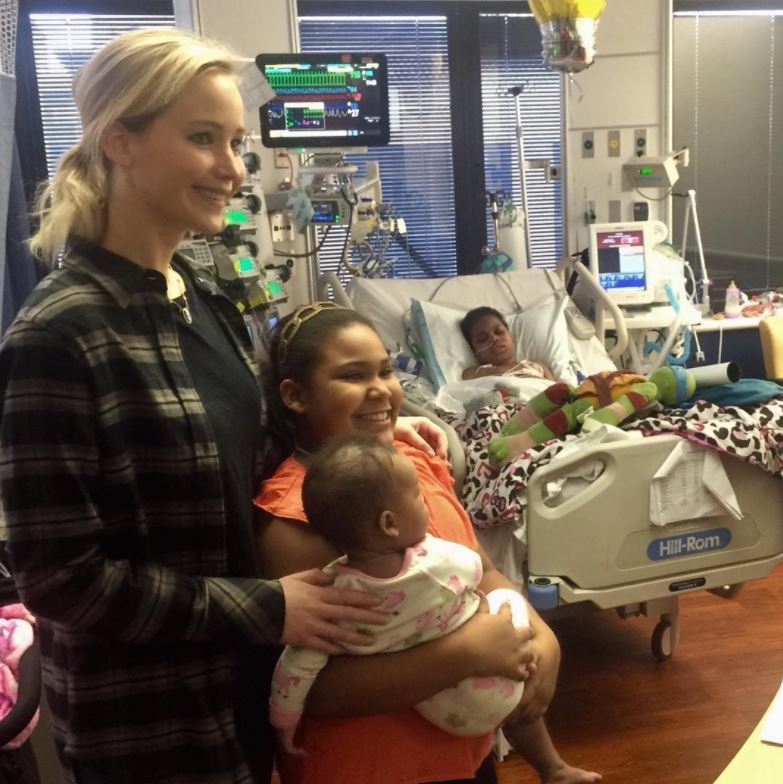 "Jennifer Lawrence returned home to Louisville, Kentucky for Christmas and stopped by the Norton Children's Hospital to spread some holiday cheer. This was the fifth year the <i>Mother</i> actress visited the hospital, which posted photos on their account. ""Louisville's own Jennifer Lawrence stopped by Norton Children's today to visit with patients, families, and staff,"" the caption said. ""This visit has become a tradition for Lawrence each Christmas. Thank you, Jennifer! You sure do bring a smile to all!""