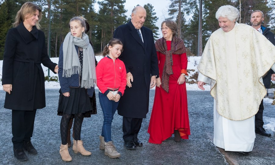 Princess Martha Louise of Norway, far left, attended a Christmas church service at Oslo's Holmenkollen Chapel with daughters Leah Behn, 12, and nine-year-old Emma – as well as dad King Harald, center.