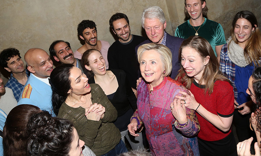 Chelsea Clinton embraced her mom Hillary during a family night out on Broadway with dad Bill. The Clinton family was having a great time backstage at the hit musical <I>The Band's Visit</I> at The Barrymore Theatre on December 27 in New York City. 