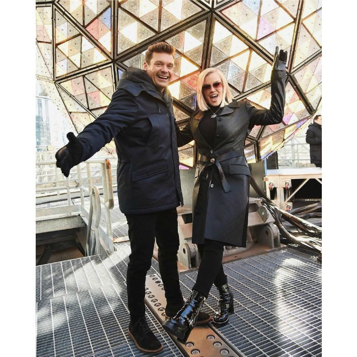 Rockin' around the NYE ball! Ryan Seacrest and Jenny McCarthy looked pumped for their annual correspondence at Dick Clark's New Year's Rockin' Eve. The pair got silly at the show's 2018 press junket in Times Square, NYC on Friday, December 29.
