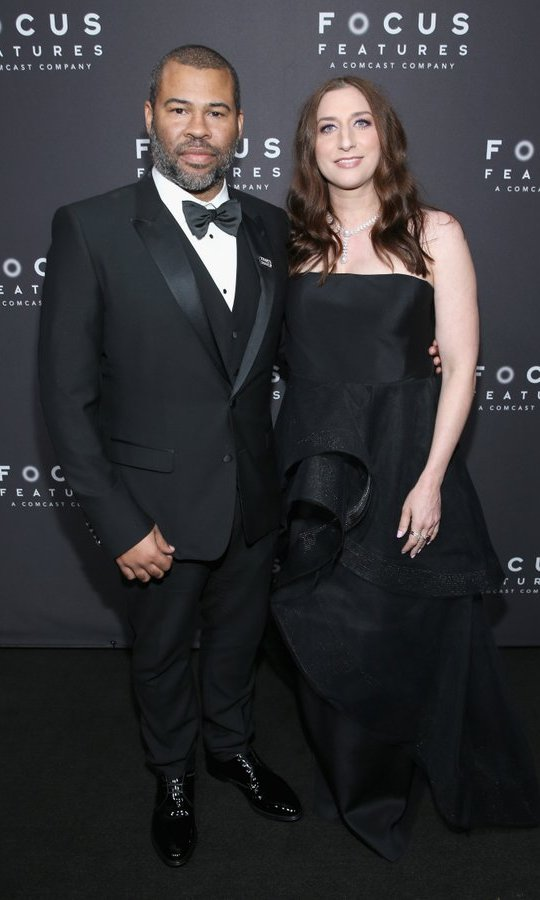 One of the year's standout talents, <I>Get Out</I> writer-director Jordan Peele, celebrated with wife Chelsea Peretti at the Focus Features after party.