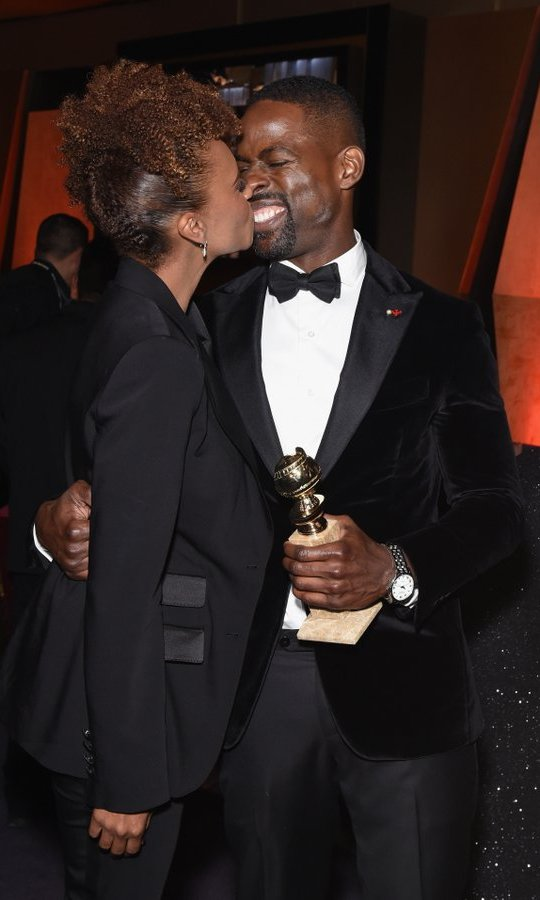 <I>This is Us</I> star Sterling K Brown celebrated his historic win – the first black performer to take home the Globe in the best TV drama actor category – with his real-life leading lady, wife Ryan Michelle Bathe.