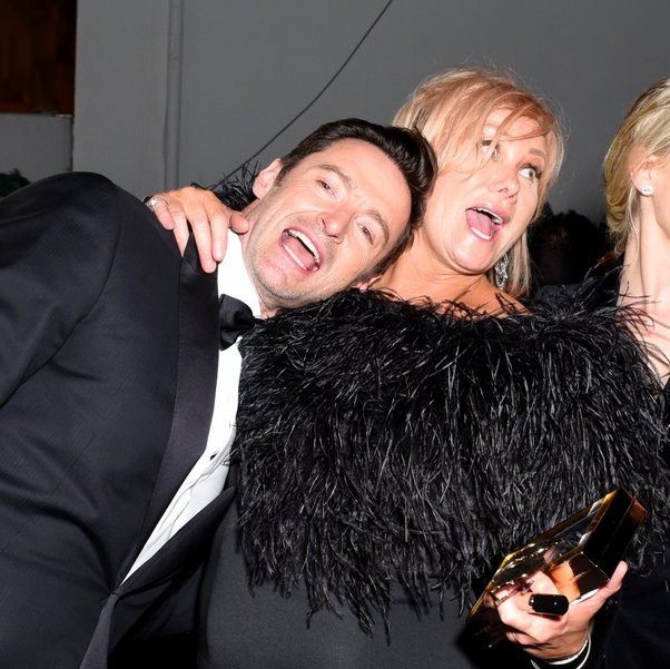 It's time to party! Hugh Jackman and wife Deborra-lee Furness looked like they were having a great time after the show at the FOX, FX and Hulu bash.