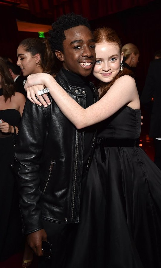 <I>Stranger Things</I> co-stars Caleb McLaughlin and Sadie Sink, aka Lucas and Mad Max, also shared the limelight on the big night out.