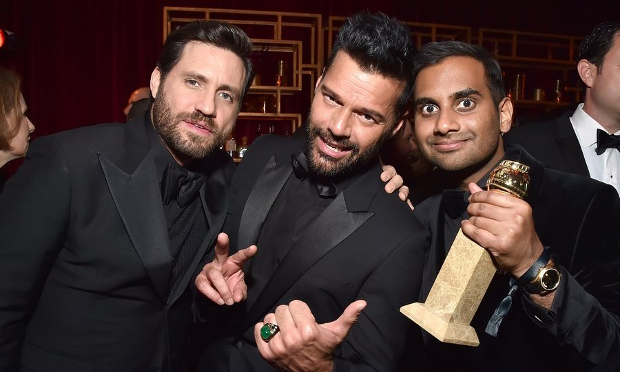 Edgar Ramirez and Ricky Martin congratulated <I>Master Of None</I>'s Aziz Ansari, who made Globes history as the first Asian American actor to win for best leading performance in a TV comedy.