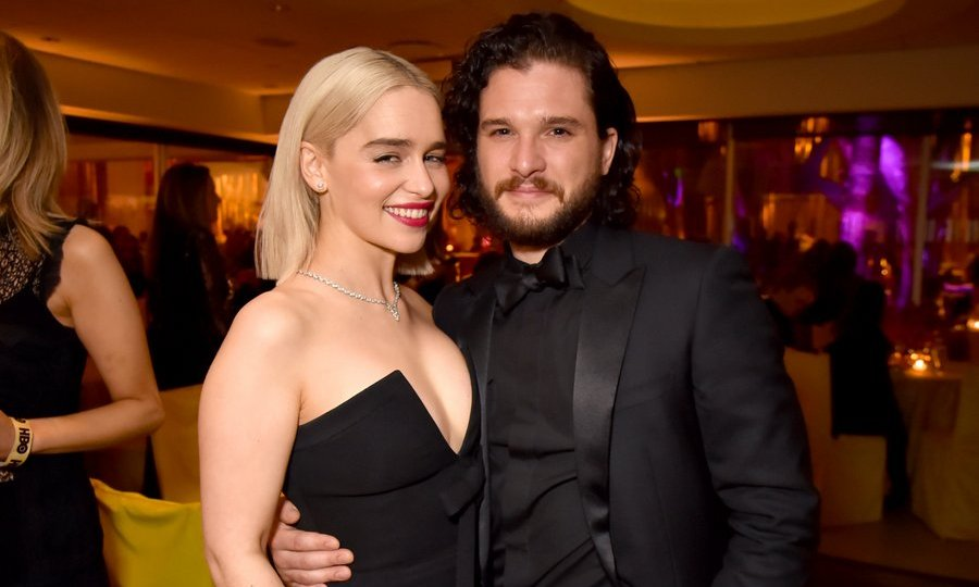 <I>Game of Thrones</I> actors Emilia Clarke and Kit Harington celebrated alongside their fellow HBO stars at the Beverly Hills bash.