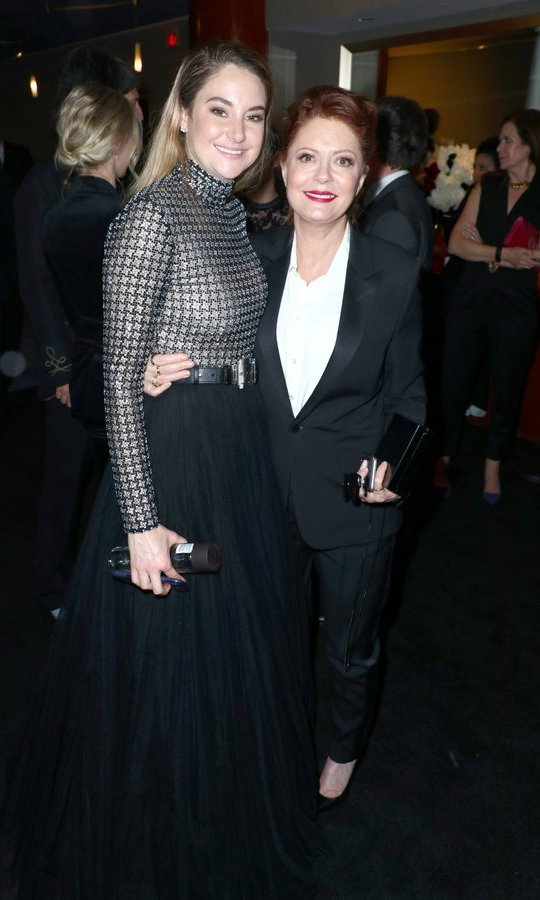 <I>Big Little Lies</I> star Shailene Woodley, left, and Susan Sarandon mingled with fellow guests at the 2018 InStyle and Warner Bros 75th Annual Golden Globe Awards Post-Party at The Beverly Hilton Hotel.