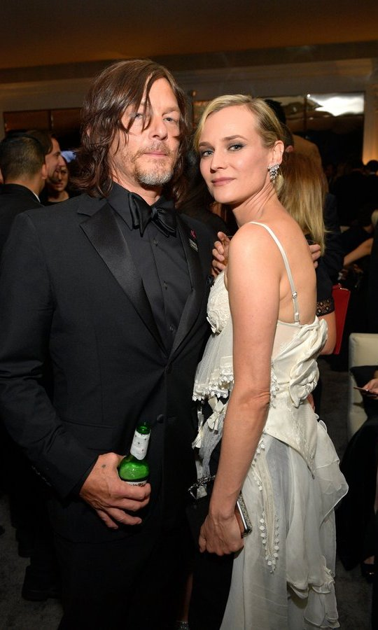 Norman Reedus and Diane Kruger made their red carpet debut as a couple at the Golden Globes then hit the post-show party circuit together. 
