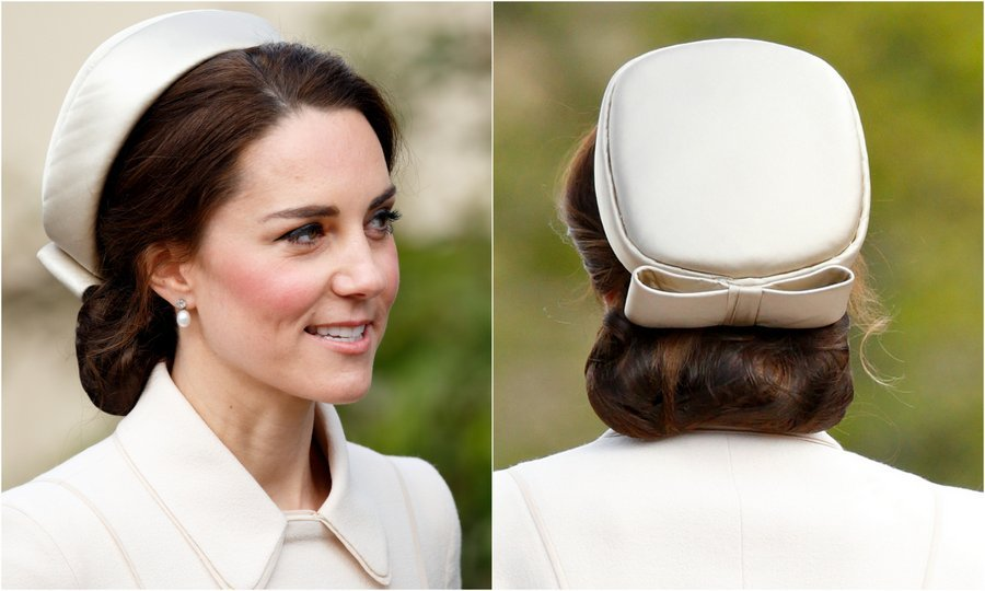Prince William's wife channeled Jackie Kennedy style in the simple and chic 'Jacqueline' pillbox hat by Lock and Company as she attended Easter Day 2017 church service with the royal family in Windsor.