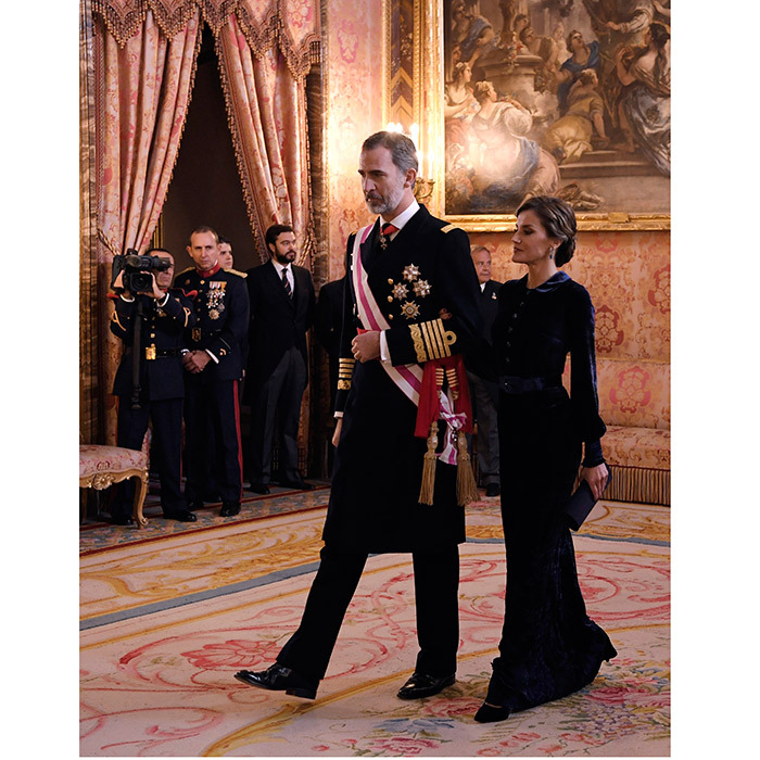 Spain's King Felipe VI and Queen Letizia made a regal entrance at the <I>Pascua Militar</I> (Epiphany Day celebrations) held at the Royal Palace in Madrid, January 6.