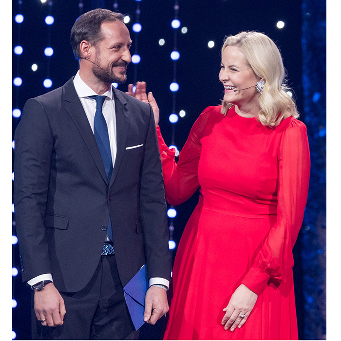 Norway's future king Crown Prince Haakon shared a laugh with his wife Princess Mette-Marit while on stage during the Sport Gala Awards at the Olympic Amphitheater in Hamar, Norway on January 6. 
