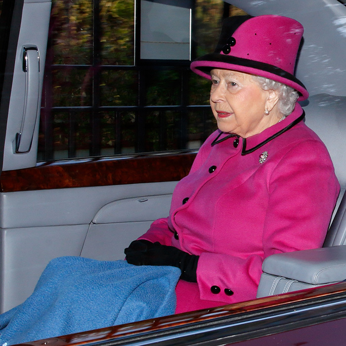Queen Elizabeth II made sure to keep warm with a blanket over her legs as she left the St Mary Magdalene Sunday service at Sandringham on January 7.