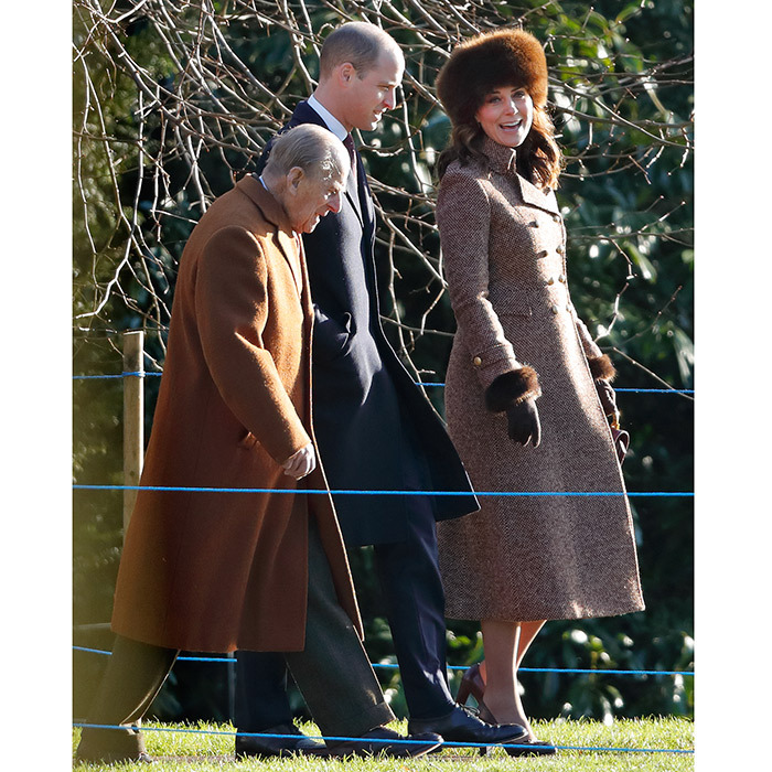 A pregnant Kate Middleton was in high spirits as she attended a church service at St Mary Magdalene with husband Prince William and grandfather-in-law Prince Philip on January 7.