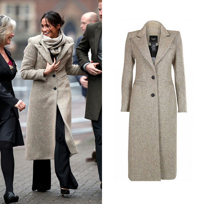 Meghan kicked off 2018 in style, when she joined Prince Harry to visit Reprezent 107.3FM radio in Brixton, south London, on January 9. The future royal wore black wide-leg trousers by Burberry, a camel coat by Smythe and a scarf from Jigsaw – where her future sister-in-law Duchess Kate once worked as an accessory buyer.