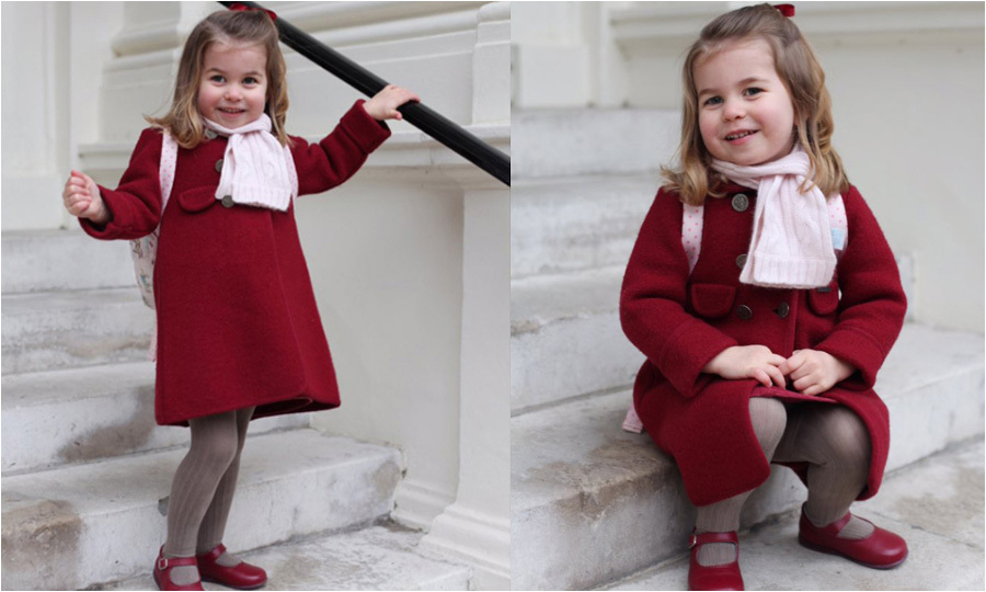 Months before turning three, Princess Charlotte had her first day of Willcocks Nursery School on January 8, 2018. To mark the momentous occasion, Kate Middleton snapped two photos of her daughter that were released by Kensington Palace. 