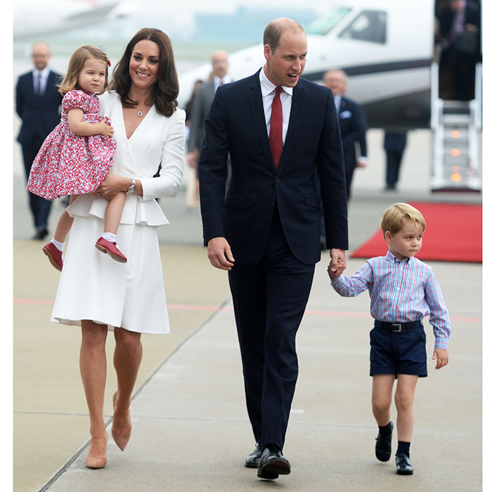 July 2017: Two days earlier the the Duke and Duchess of Cambridge and their family kicked off the tour of Poland and Germany at Warsaw Chopin. They again wore complementing colors, this time red white and blue.