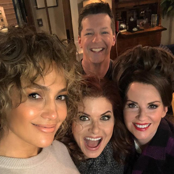 Reunited and it looks so fun! Jennifer Lopez, who previously starred in <i>Will & Grace</i>'s season six finale, shared a photo of herself with Sean Hayes, Debra Messing and Megan Mullally on set. The actress is set to return as herself and her <i>Shades of Blue</i> character, detective Harlee Santos. 