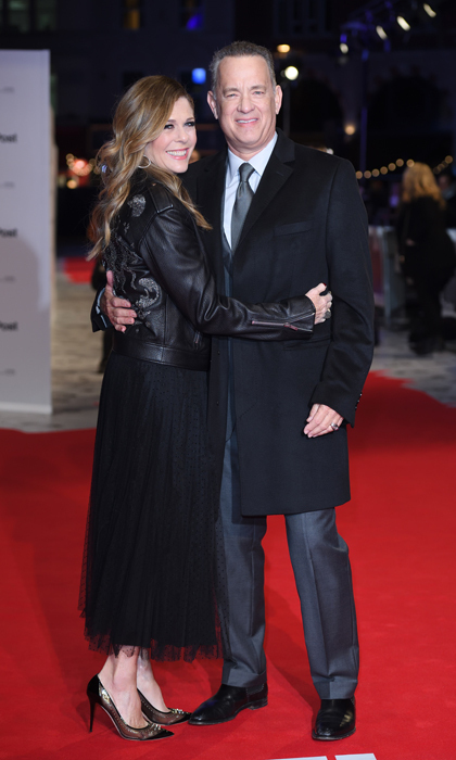 Tom Hanks and wife Rita Wilson looked loved-up at the European premiere of <i>The Post</i> held at London's Odeon Leicester Square on January 10. 