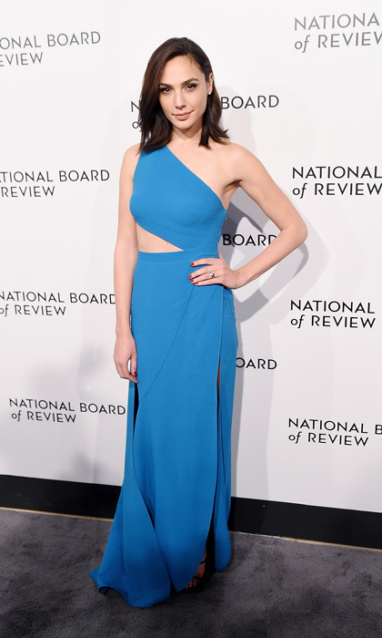 Gal Gadot was a blue beauty wearing an Elie Saab dress to the 2018 National Board of Review Awards Gala held at New York's Cipriani 42nd Street on January 9. The actress and director Patty Jenkins were honored with the Spotlight Award for their work on the movie <i>Wonder Woman</i>.