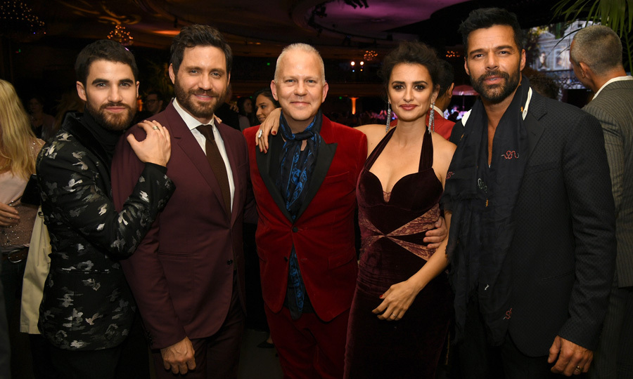 The cast of <i>The Assassination of Gianni Versace</i> Darren Criss, Edgar Ramirez, Penelope Cruz and Ricky Martin posed with executive producer Ryan Murphy at the after party for the premiere of the FX series at the Hollywood Palladium on January 8.
