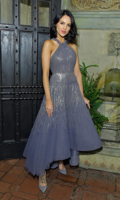 Eiza Gonzalez wore a shimmery dress with matching pumps to a Vanity Fair party celebrating the movie <i>Phantom Thread</i> at West Hollywood's Chateau Marmont. 