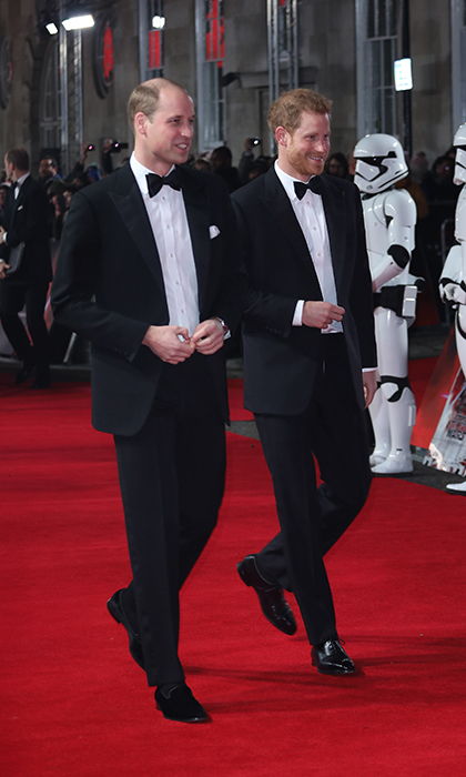 The royal brothers were looking dapper in tuxedos – and characteristically in step! – for the <I>Star Wars Episode VIII: The Last Jedi</I> UK film premiere held at the Royal Albert Hall in December 2017.