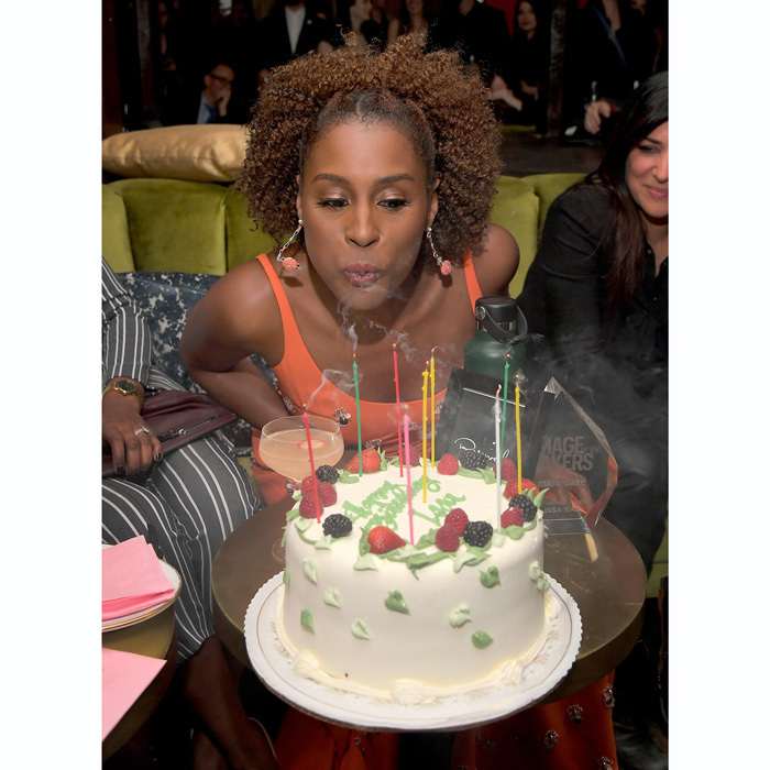 Issa Rae kicked off her birthday festivities a day early at the Marie Claire Image Makers Awards at Delilah in West Hollywood. The <i>Insecure</i> actress blew out candles on Sweet Lady Jane's Triple Berry Cake.