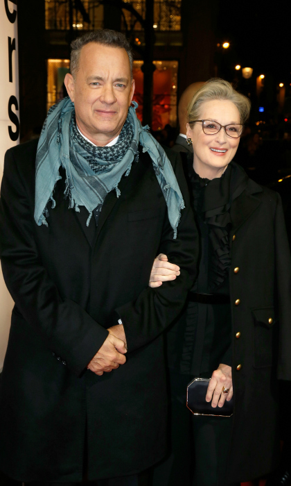 Tom Hanks and Meryl Streep made for a classy pair as they premiered their film <i>The Post</i> (which is titled Pentagon Papers in France) on January 13 at the Cinema UGC Normandie in Paris, France. The Oscar-winning duo were also joined by the film's acclaimed director Steven Spielberg.