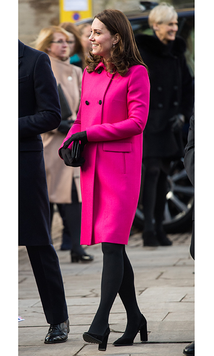 The Duchess of Cambridge was pretty in pink as she carried out her second official engagement of the year on January 16. For a visit to Coventry, England, the pregnant royal donned a bright pink coat by Mulberry – could it mean she's having a girl? Kate had also worn the coat in March 2015 while she was pregnant with daughter Princess Charlotte. 