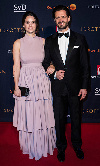 Princess Sofia of Sweden wore a lavender By Malina  gown as she joined husband Prince Carl Philip on the red carpet at Idrottsgalan, the annual Swedish sports awards gala held at the Ericsson Globe Arena on January 15 in Stockholm.