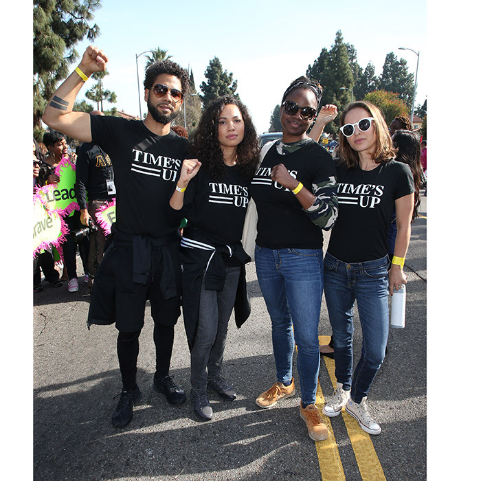 <I>Empire</I> star Jussie Smollett was in good company with his actress sister Jurnee Smollett-Bell, <I>Mudbound</I> director Dee Rees and actress Natalie Portman, who all sported Time's Up shirts to represent Hollywood's fight against sexual harrassment during Martin Luther King, Jr Kingdom Day Parade & VIP Breakfast in Los Angeles.