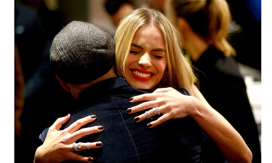 <I>I, Tonya</I> star Margot Robbie gave director Craig Gillespie a big hug at the film's French premiere in Paris on January 15. 