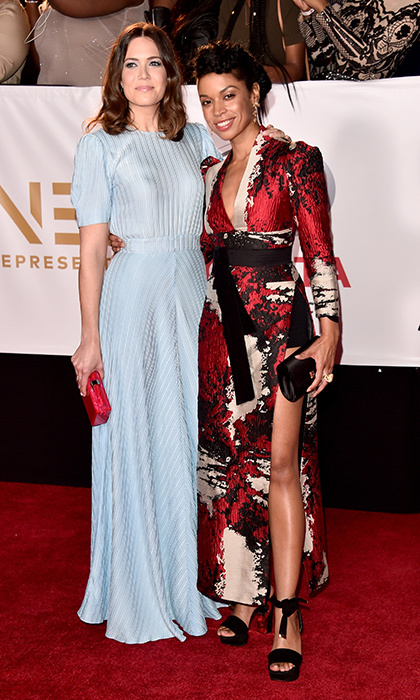 <I>This is Us</I> co-stars Mandy Moore and Susan Kelechi Watson, wearing Phuong My, looked doubly stylish as they walked the Image Awards red carpet together. 