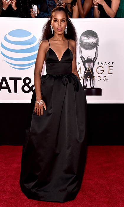 Kerry Washington stunned in an elegant black silk gown by Michael Kors on the red carpet 