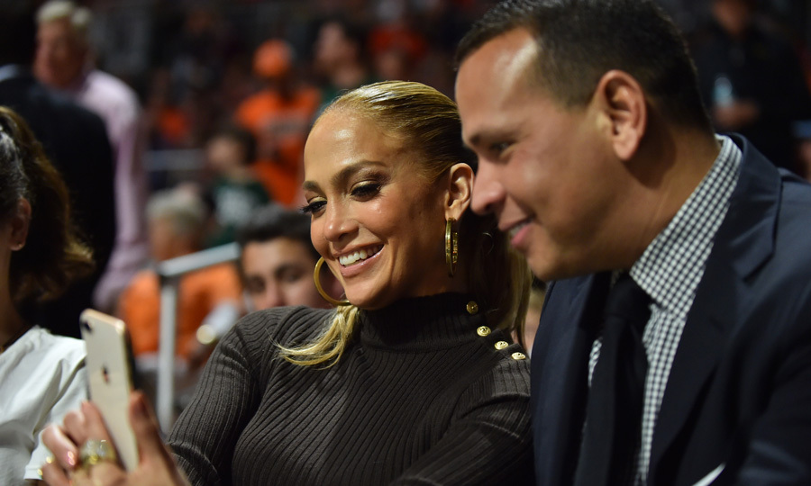 Jennifer Lopez and Alex Rodriguez snapped a photo together during the Miami Hurricanes vs. the Duke Blue Devils basketball game in Miami on January 15. The couple of almost a year attended the sporting event with his oldest daughter Natasha (not pictured).