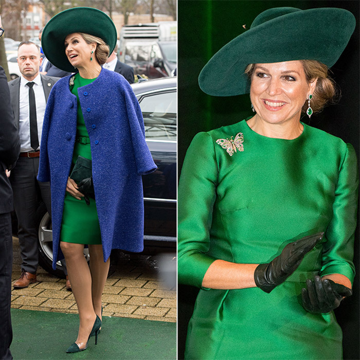 On January 17, Queen Maxima removed her cobalt blue coat to reveal a forest green dress underneath as she opened the Bio-fair, promoting the organic sector, in Zwolle, Netherlands. The royal wore leather gloves, a butterfly brooch, emerald earrings and a broad-brimmed hat to complete her outfit.