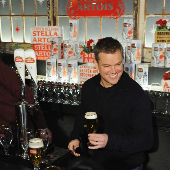 "Matt Damon tested his pouring skills behind the bar as Stella Artois and Water.org showed off their Super Bowl commercial. The actor, who is a co-founder of the charity, also reminisced about last year's close game between the Atlanta Falcons and the New England Patriots. ""Last year it went from the worst Super Bowl party of my life to the best one,"" he shared. ""Ben Affleck and I were in the corner not talking to anybody and then we were just jumping for joy.""
