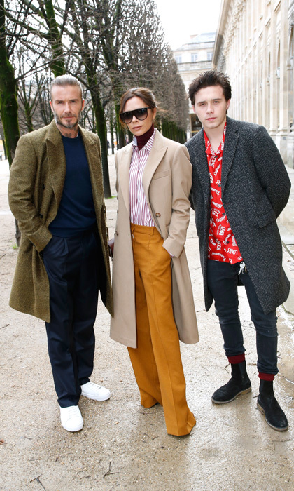 Victoria Beckham had two of her guys with her in Paris for Men's Fashion Week. She along with David and Brooklyn sat front row at the Louis Vuitton show.