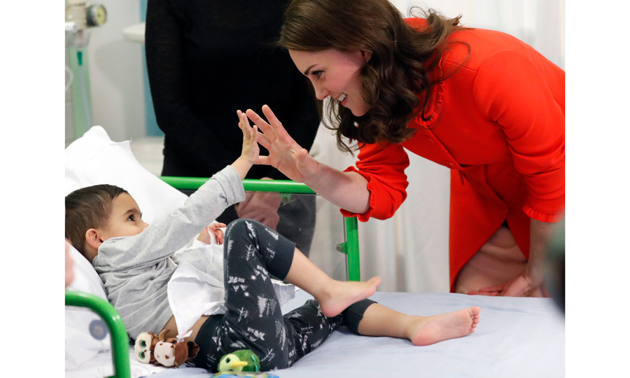 The Duchess of Cambridge met patients at Great Ormond Street Hospital in London on January 17. Kate — who stepped out for the engagement sans her iconic sapphire engagement ring due to the hospital's policy on minimal jewelry — officially opened the Mittal Children's Medical Centre, which is home to the new Premier Inn Clinical Building.