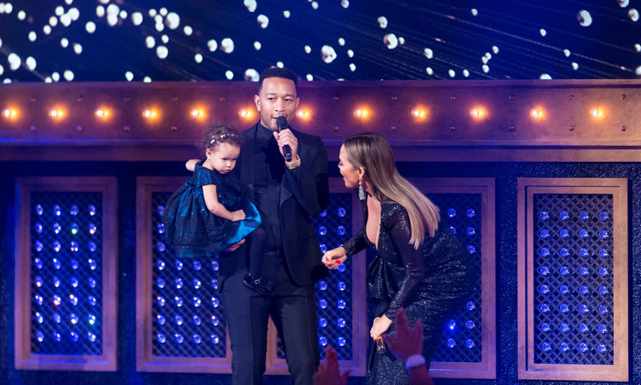 The <i>Lip Sync Batt</i> host was joined on stage by husband John Legend and their adorable daughter Luna, who also got dressed up for the occasion.