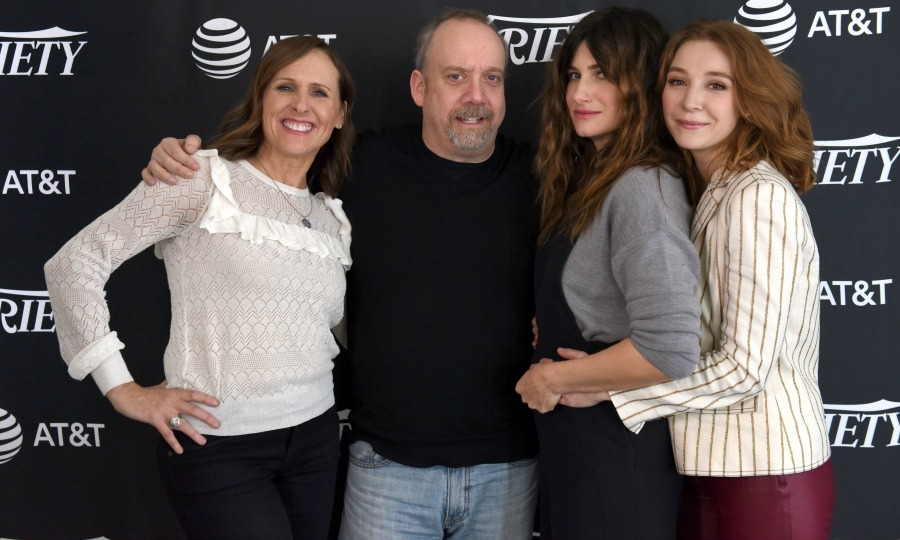 Molly Shannon, Paul Giamatti, Kathryn Hahn and Kayli Carter posed for a fun snap on the carpet. The actors attended Sundance to debut their new Netflix film <i>Private Life</i>. 