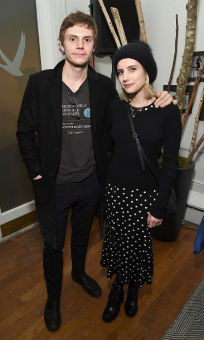 Dressed in sleek black ensembles, longtime couple Evan Peters and Emma Roberts attended the <i>American Animals</i> after-party at the Grey Goose Blue Door during Sundance on January 19.
