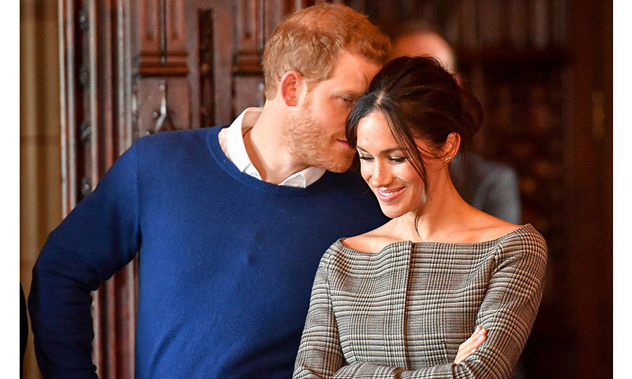 Even Meghan's outfit in Cardiff was a sweet gesture to her Prince! Her $250 wool off-the-shoulder jacket from Theory was in Prince of Wales check, a nod to Harry's full title: Prince Henry of Wales. 