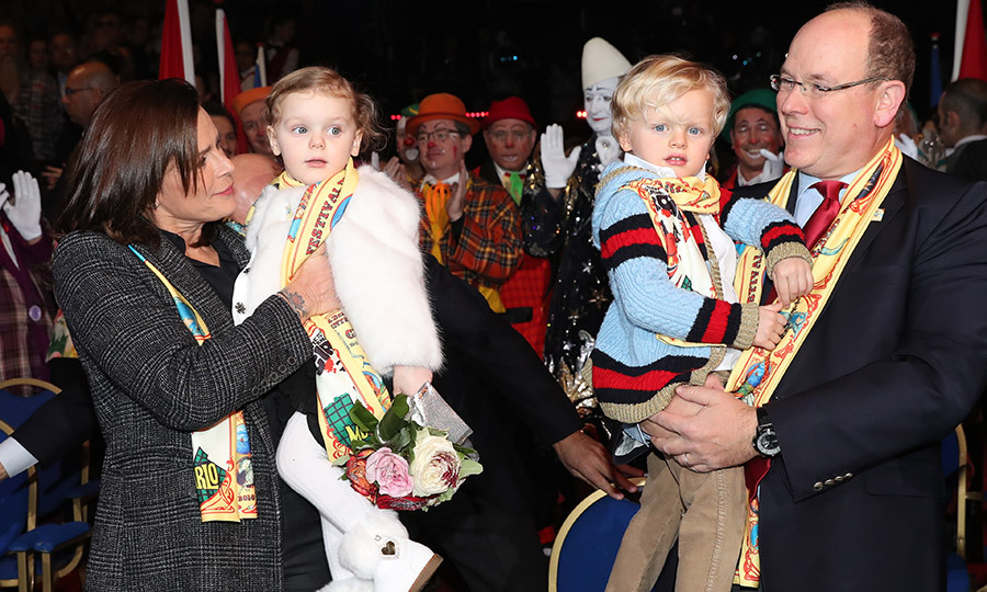 Monaco's royal twins Princess Gabriella and Prince Jacques enjoyed a trip to the circus on Day four of the 42nd International Circus festival in Monte Carlo on January 21. While mom Princess Charlene was absent, aunt Princess Stephanie was there to step in to give proud dad Prince Albert a hand. 