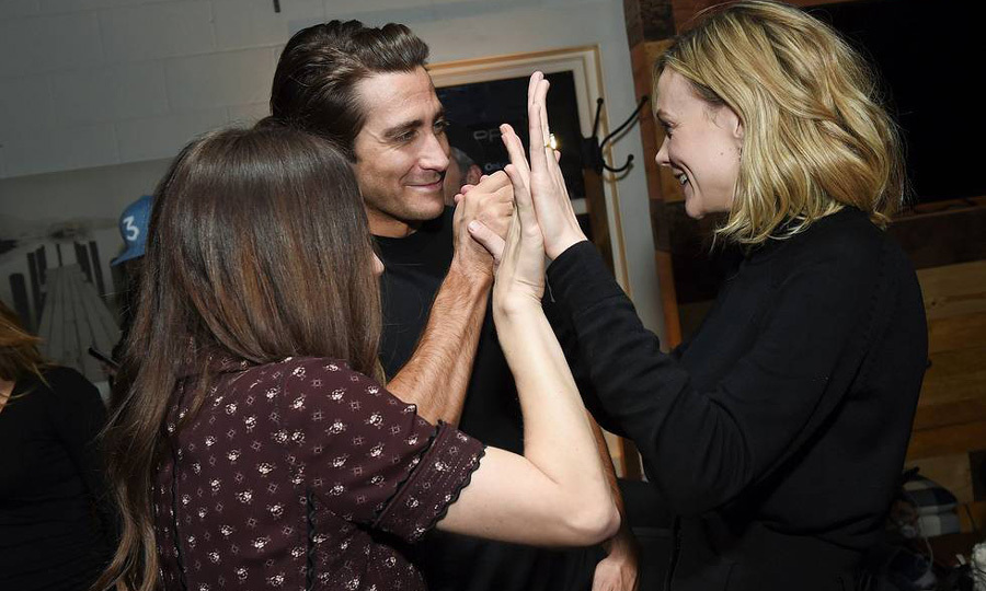 Jake Gyllenhaal, Carey Mulligan gave a triple high-five to co-writer of their film <i>Wildlife</i> Zoe Kazan during the film's after-party at Chase Sapphire on Main.