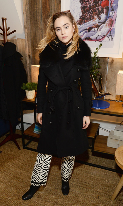 Suki Waterhouse had a wild time discussing her upcoming film <i>Assassination Nation</i> at the Grey Goose Blue Door in zebra pants and a Burberry coat.