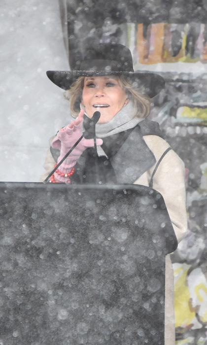 Jane Fonda didn't let the foot of snowfall that blanketed Park City stop her from joining the Respect Rally in Park City during Sundance. The <i>Grace and Frankie</i> star  bundled up as she spoke to the crowd including Common and Chloe Grace Moretz.