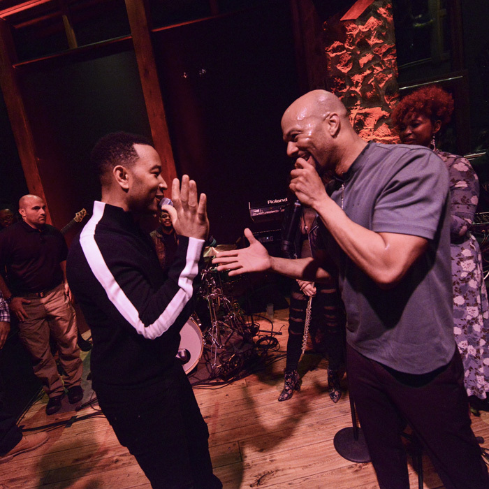 John Legend and Common took over the living room of the Wanderluxxe house for an impromptu performance as guests sipped Casamigos and Heineken.
