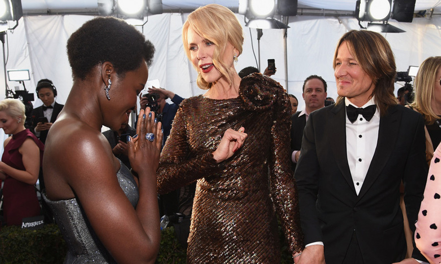 Nicole Kidman, who was battling the flu, and Keith Urban caught up with Lupita Nyong'o backstage at the SAG Awards, where guests sipped Clase Azul tequila.