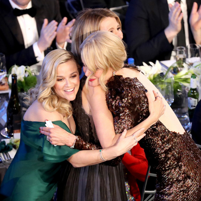 It's no lie that these ladies really love each other! Reese Witherspoon, Laura Dern and Nicole Kidman had one big group hug at the SAG Awards.